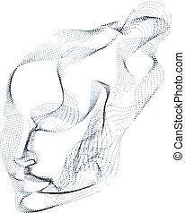 piękny, czas, głowa, robiony, illustration., kropkowany, maszyna, palcowe cieknięcie, rozwój, wektor, machać, cząstki, lines., ludzki, techniczny, portret, dusza, modeluje, futurystyczny, software