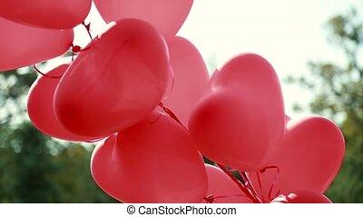 piękny, czerwone serce, balony
