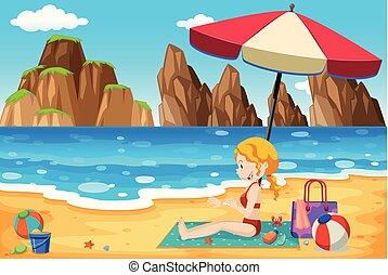 piękny, dama, plaża, młody
