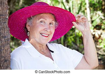 piękny, dama, senior, kapelusz, cyple