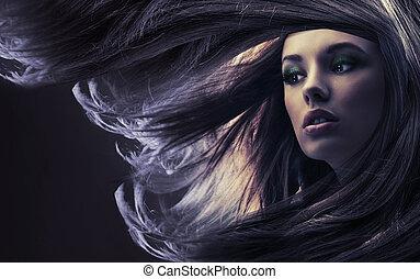 piękny, dama, z, długi brunatny włos, na, światło księżyca