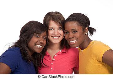 piękny, damski, grupa, młody, tło, biały
