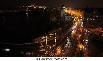 piękny, deszczowy, prospekt, szosa, droga, hrad., noc, prague., światła, timelapse, prazsky, zamek, wóz