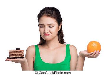 piękny, dieting, kobieta, zdrowy, concept., między, młody, jadło., słodycze, diet., wybierając, owoce, asian
