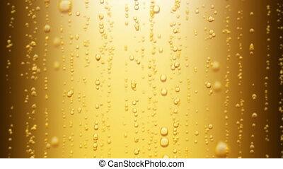 piękny, do góry., 1080., iskrzasty, loopable, woda, tło., piwo, ożywienie, powstanie, żółty, bańki, hd, 3d