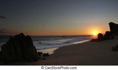 piękny, dobry, strzał, meksyk, sięga, na dół, ocean., jakość, powierzchnia, tam, los, zdumiewający, sur, dookoła, kalifornia, pacyfik, baja, pustynia, to, lekki, cabo, timelapse, zachód słońca, gdzie