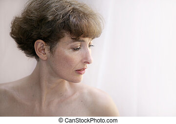 piękny, dojrzały, topless, kobieta