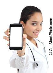 piękny, doktor, pokaz, odizolowany, telefon, samica, ekran, mądry