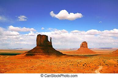 piękny, dolina, arizona, krajobraz, pomnik
