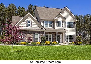 piękny, dom, świeżo, nowoczesny, constructed