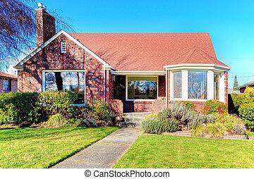 piękny, dom, cegła, czerwony