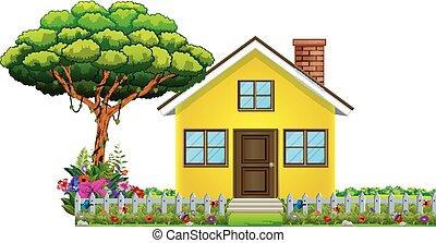 piękny, dom, natura