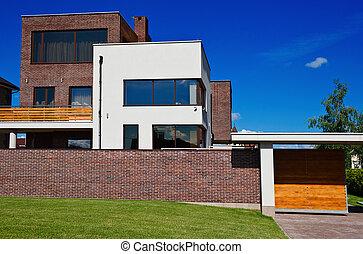 piękny, dom, nowoczesny