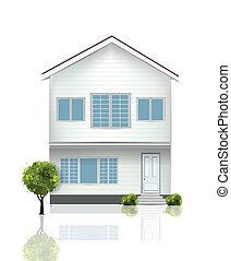 piękny, dom, odizolowany, na białym