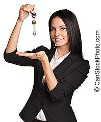 piękny, dom, pośrednik, sprzedaż, key., dzierżawa, dziewczyna