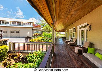 piękny, dom powierzchowność, patio, pokład