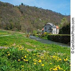 piękny, dom, rzeka krajobraz, wiejski