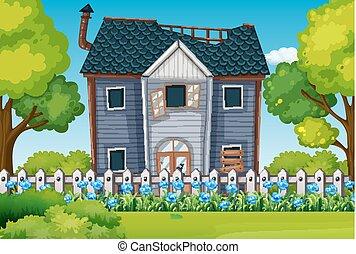 piękny, dom, stary, ogród