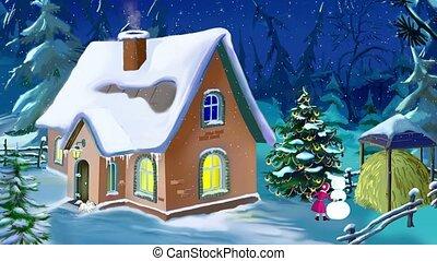 piękny, dom, wigilia, rok, mały, nowy