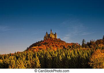 piękny, dookoła, jesień, niemcy, hohenzollern, zamek