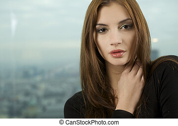 piękny, dorosły, zmysłowość, kobieta