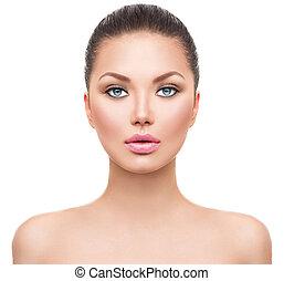 piękny, doskonała skóra, czysty, zdrój, świeży, wzór, dziewczyna