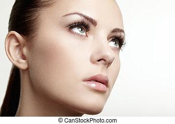 piękny, doskonały, face., kobieta, makijaż