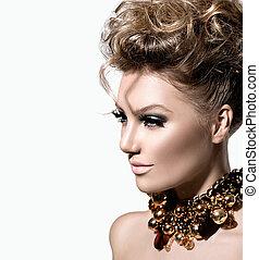 piękny, doskonały, fryzura, fason, makijaż, wzór, dziewczyna