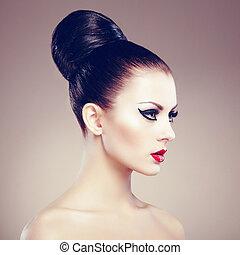 piękny, doskonały, kobieta, hairstyle., fotografia, makeup., elegancki, fason, portret, czuciowy