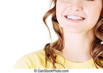 piękny, doskonały, kobieta, jej, prosty, biały, teeth.