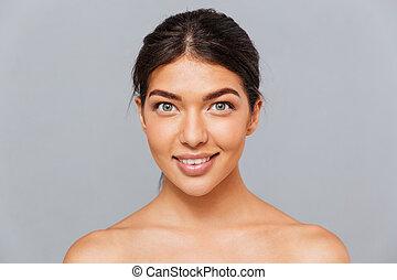 piękny, doskonały, kobieta, młody, uroczy, skóra, portret