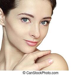 piękny, doskonały, kobieta, odizolowany, twarz, skin., closeup, czysty, portret