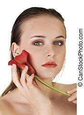 piękny, doskonały, kobieta, piękno, bodyn, concept., skin., portrait., czysty, świeży, wzór, dziewczyna, troska