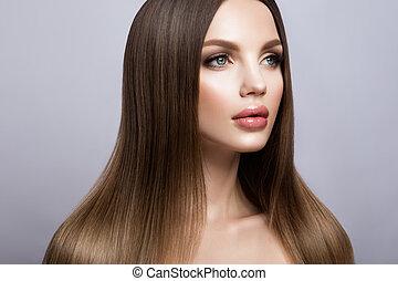 piękny, doskonały, kobieta, piękno, twarz, portrait., czysty, skóra, świeży, wzór, dziewczyna