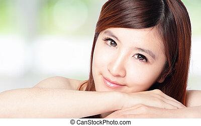 piękny, doskonały, kobieta, skóra, twarz