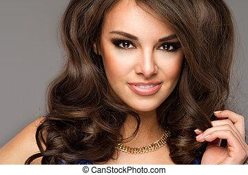 piękny, doskonały, kobieta, toothy, face., młody, do góry, portrait., zamknięcie, dziewczyna, smile., kaukaski