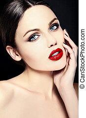 piękny, doskonały, look.glamor, fason, barwny, piękno, makijaż, młody, jasny, wysoki, usteczka, kobieta, closeup, czysty, skóra, portret, wzór, kaukaski, czerwony