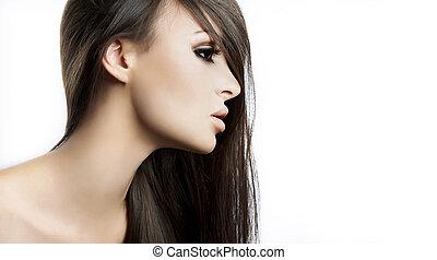 piękny, doskonały, look.glamor, fason, makijaż, młody, odizolowany, wysoki, jasny, kobieta, closeup, czysty, skóra, portret, sexy, biały kaukaski, wzór
