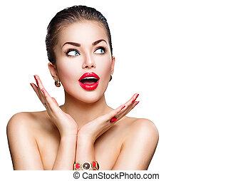 piękny, doskonały, woman., makijaż, wzór, dziewczyna, zdziwiony