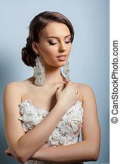 piękny, dress., szlachecki, młody, spokojny, panna młoda, bride., poślubny portret