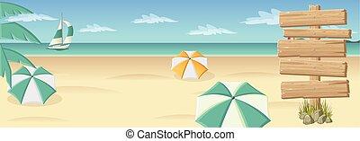 piękny, drewniany, plaża, tropikalny, znak