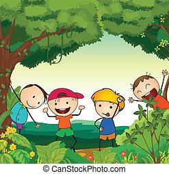 piękny, dzieciaki, natura