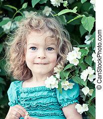 piękny, dziecko kwiatu
