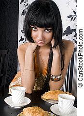 piękny, dziewczyna, kawiarnia