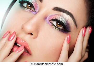 piękny, dziewczyna, makijaż