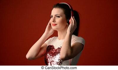 piękny, dziewczyna, muzykować słuchanie