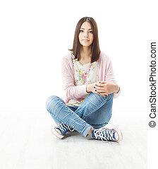 piękny, dziewczyna, nastolatek, posiedzenie na podłodze