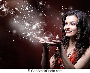piękny, dziewczyna, podmuchowy, magia, gwiazdy