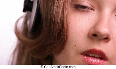 piękny, dziewczyna, romanti, słuchający