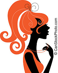 piękny, dziewczyna, sylwetka, profil